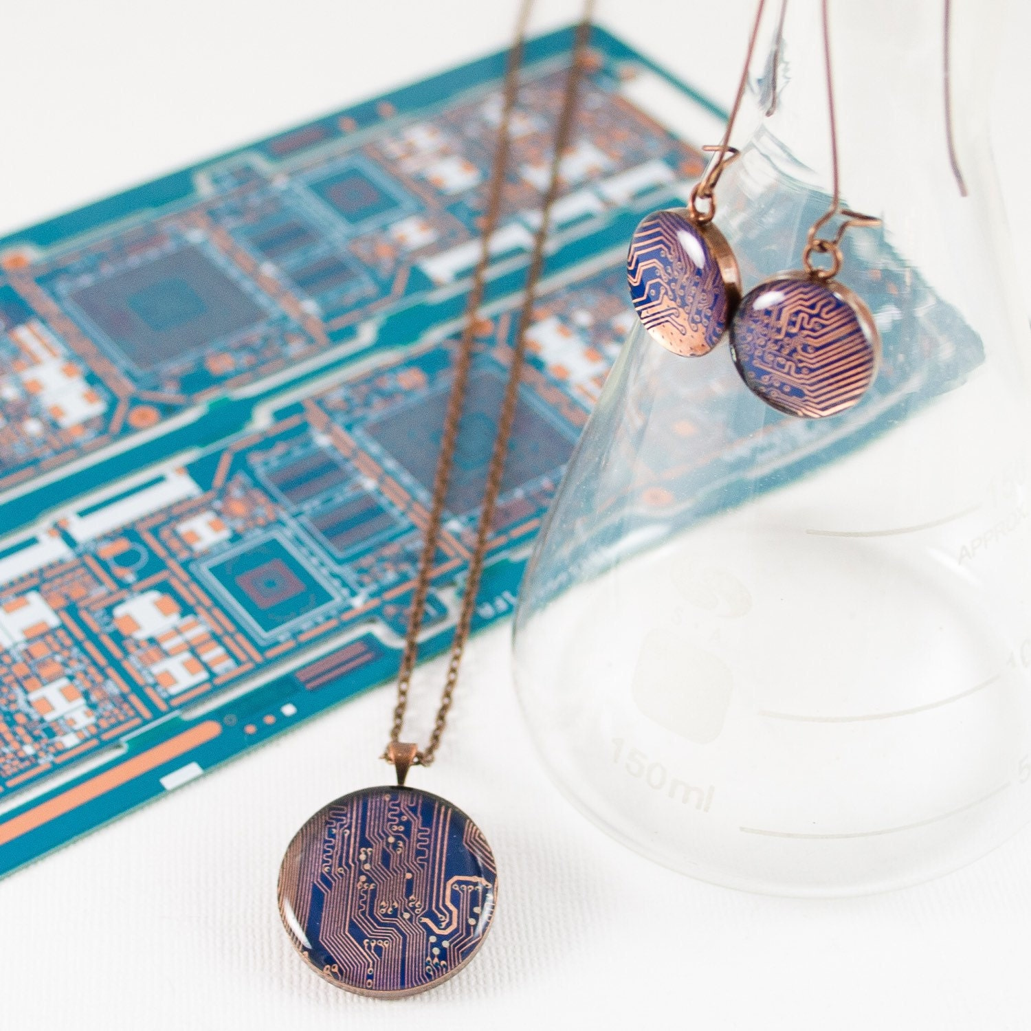 Updates From Circuitbreakerlabs On Etsy Earrings Recycled Circuit Board And Copper Red Glass Beads Geekery Click To View Listing