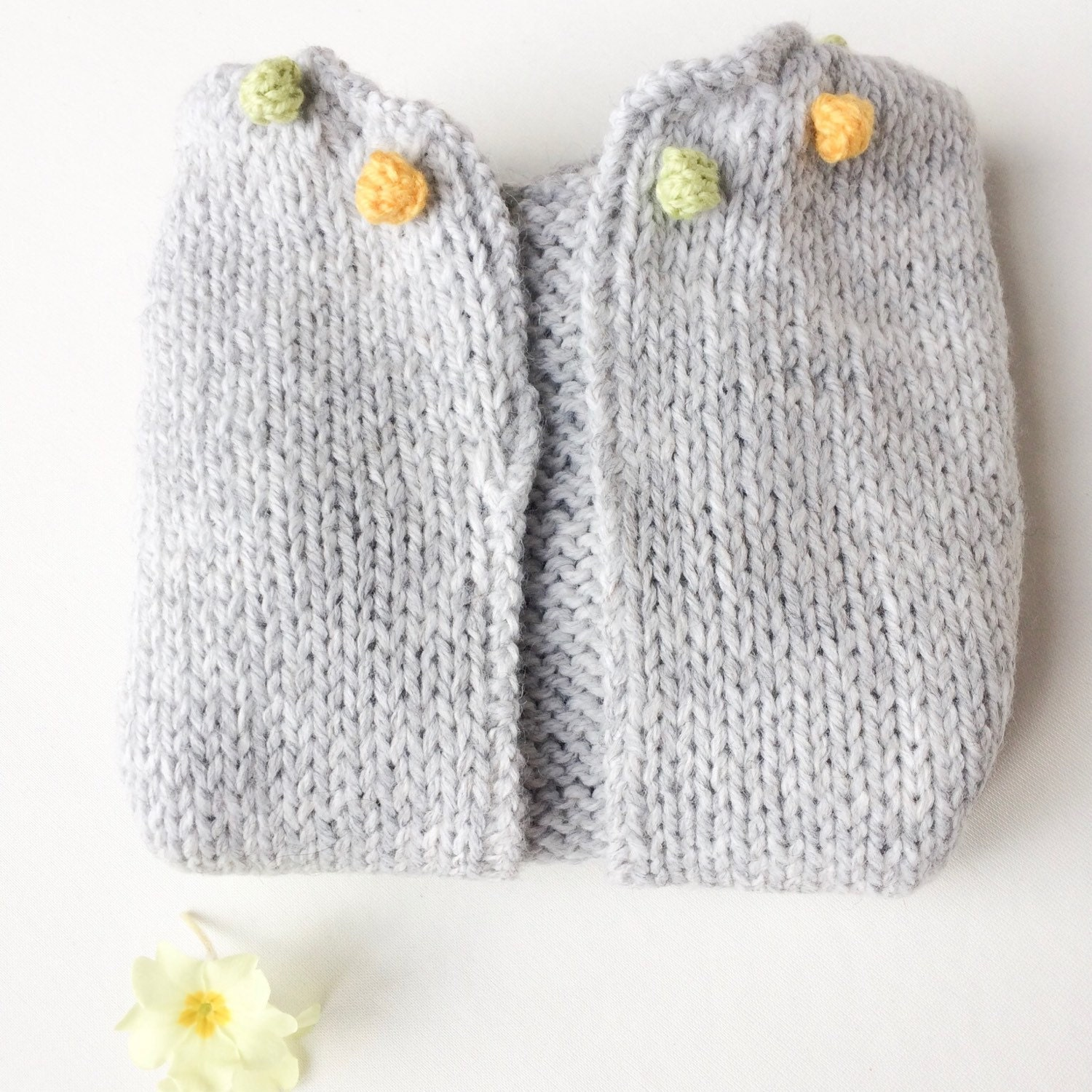Grey baby cardigan girl sweater with bobbles shower t