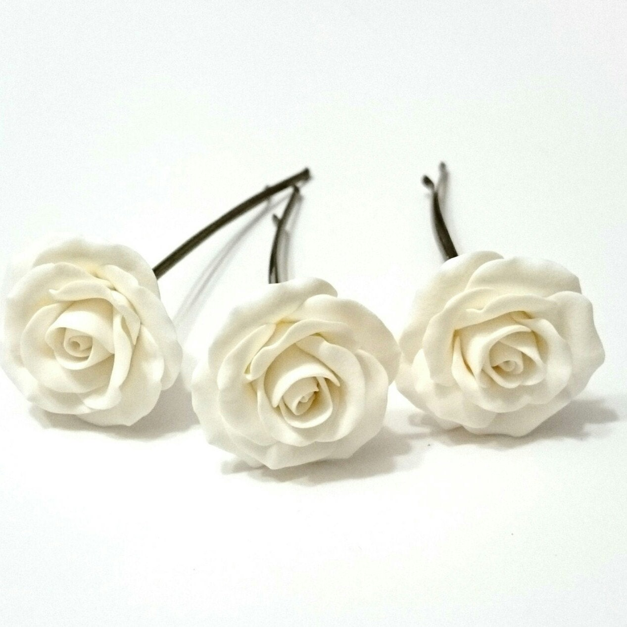White Roses Hair Pins White Roses Hairpins Woodland White