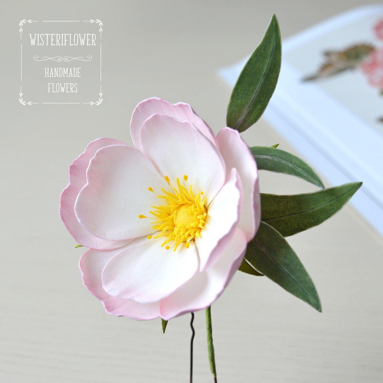 Garden Wedding Flower Hair Pin Wild Rose Eucalyptus Leaves